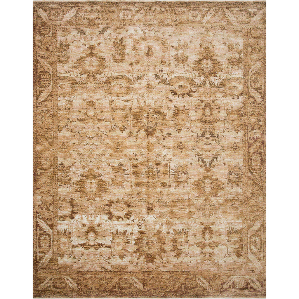 tan traditional rug with copper colored detail