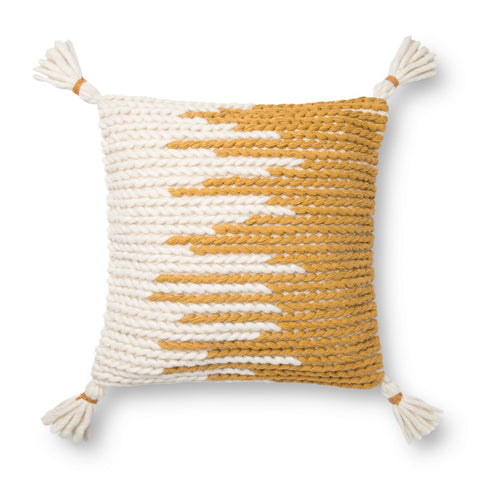 gold and white modern square pillow with white tassels