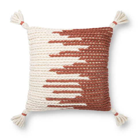spice red and white modern textured pillow with white tassels