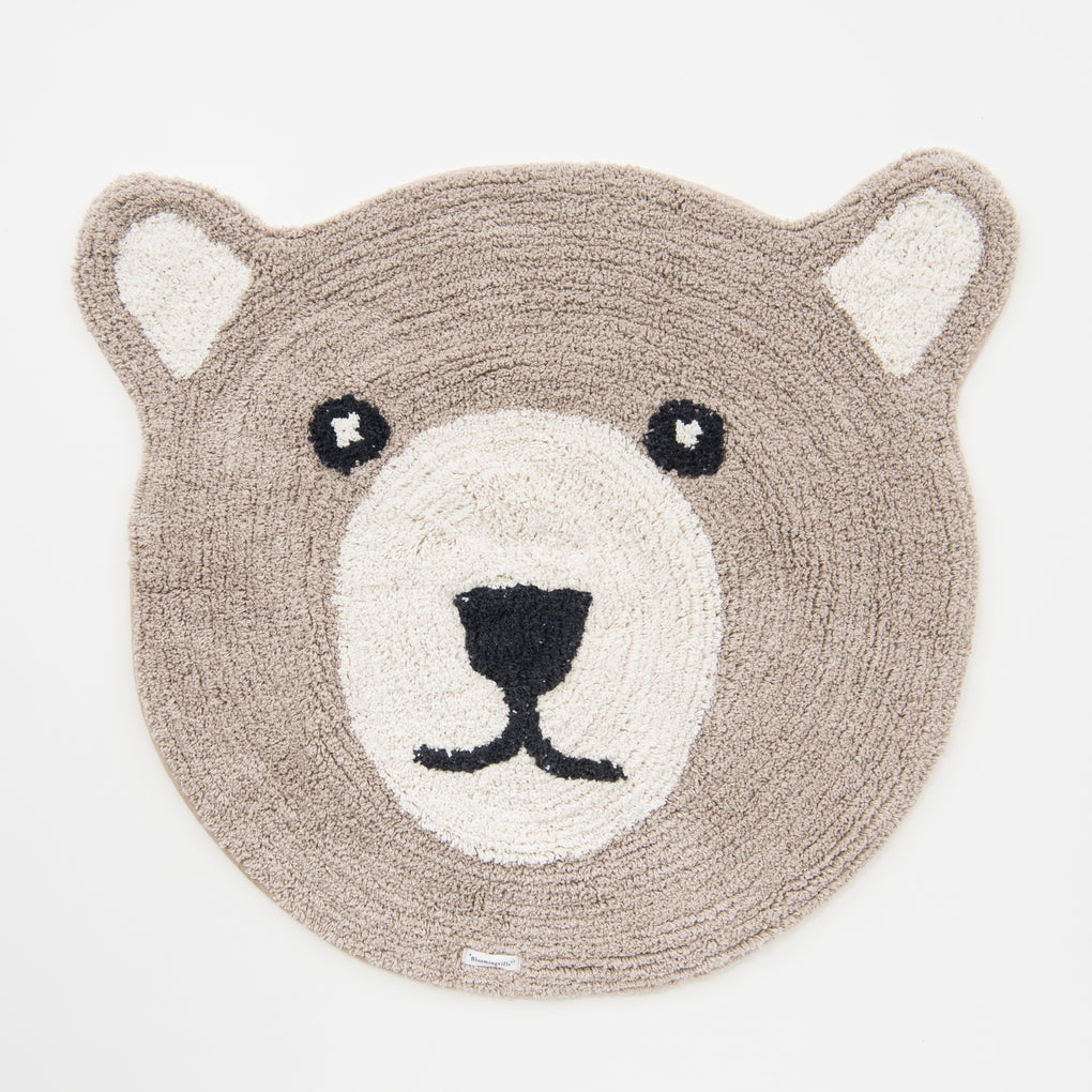 kids grey bear floor rug