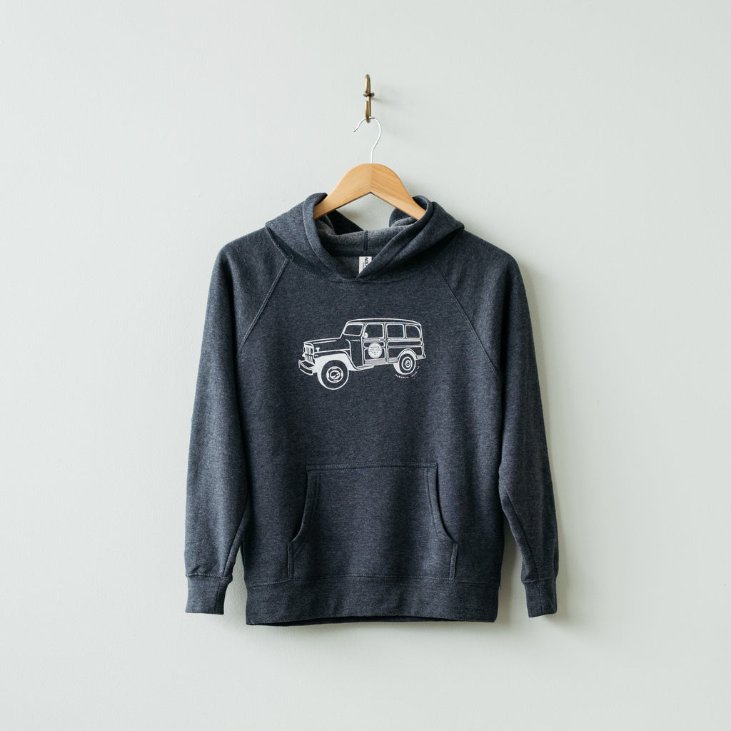 dark grey kids hoodie with magnolia truck logo