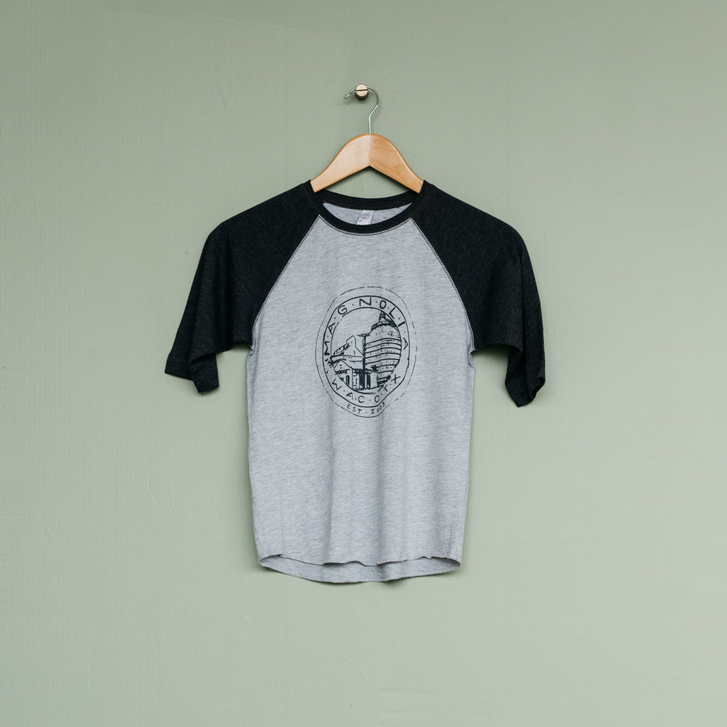 kids heather grey and black baseball tee with silos seal logo