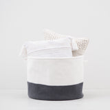dark grey and white knit storage basket