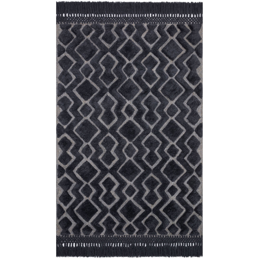 modern dark gray rug with diamond pattern and tassels