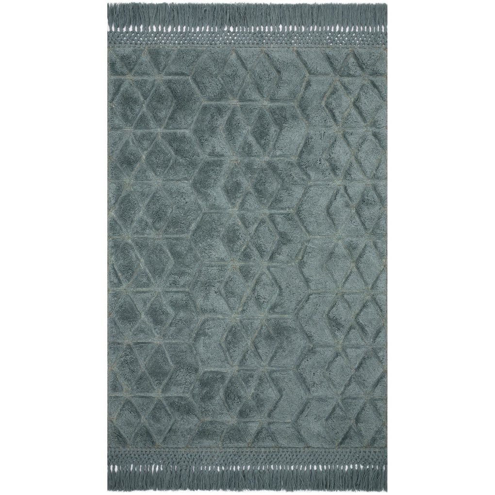modern slate blue rug with diamond pattern and tassels