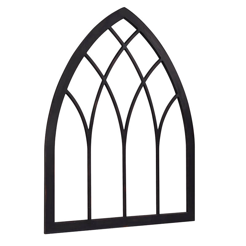 large wooden cathedral style decorative window panel with black finish