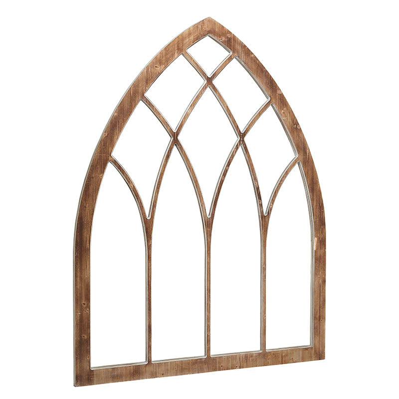 large wooden cathedral style decorative window panel