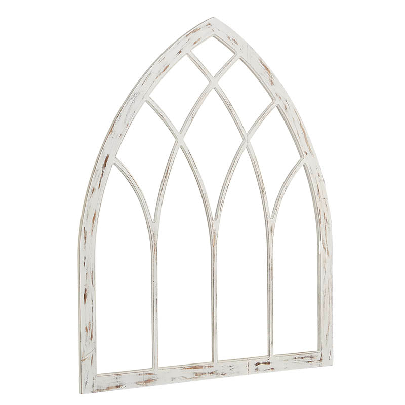 large wooden cathedral style decorative window panel with distressed white finish