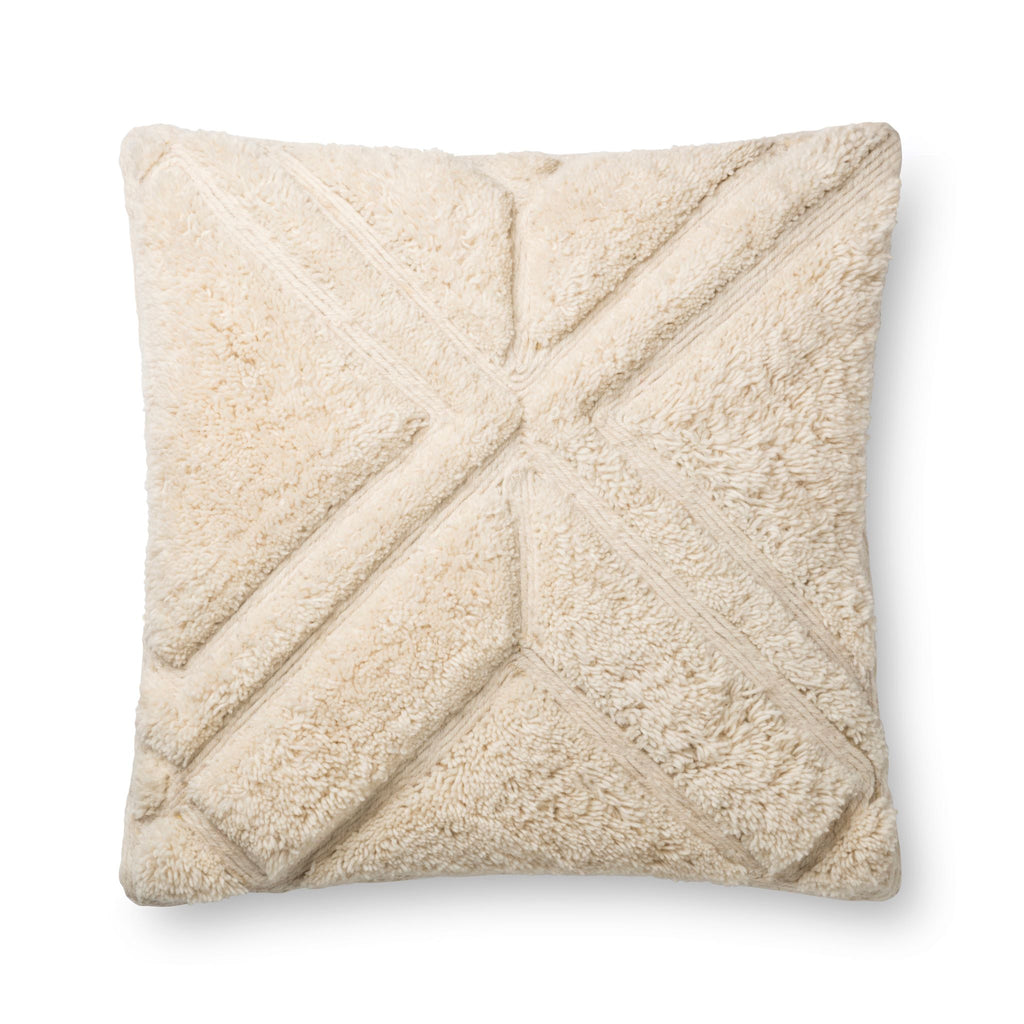square cream soft pillow with embossed geometric detail