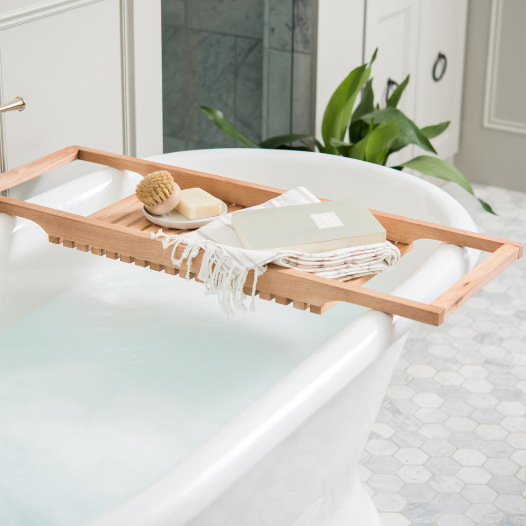 large acacia bath tub tray