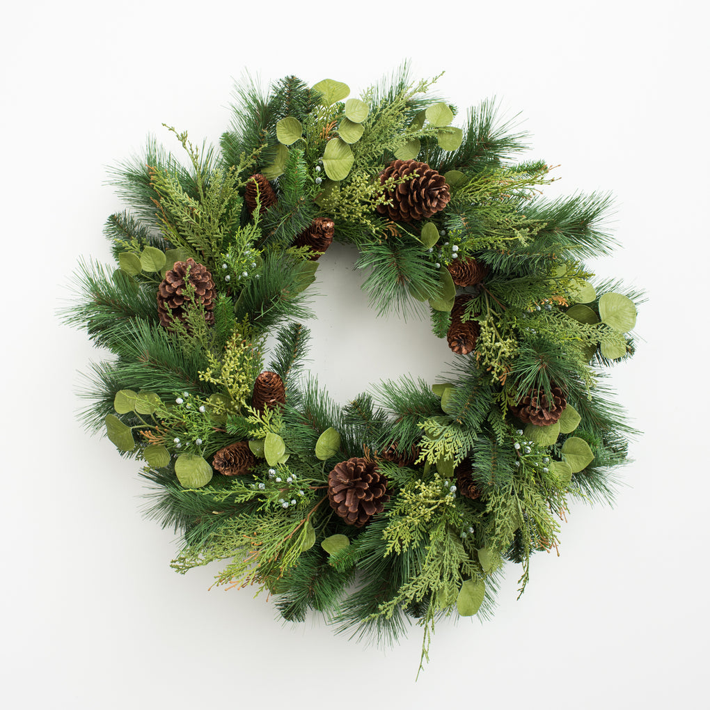 artificial winter greenery wreath