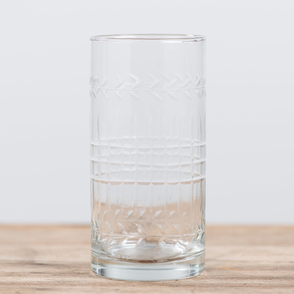 large embossed glass tumbler