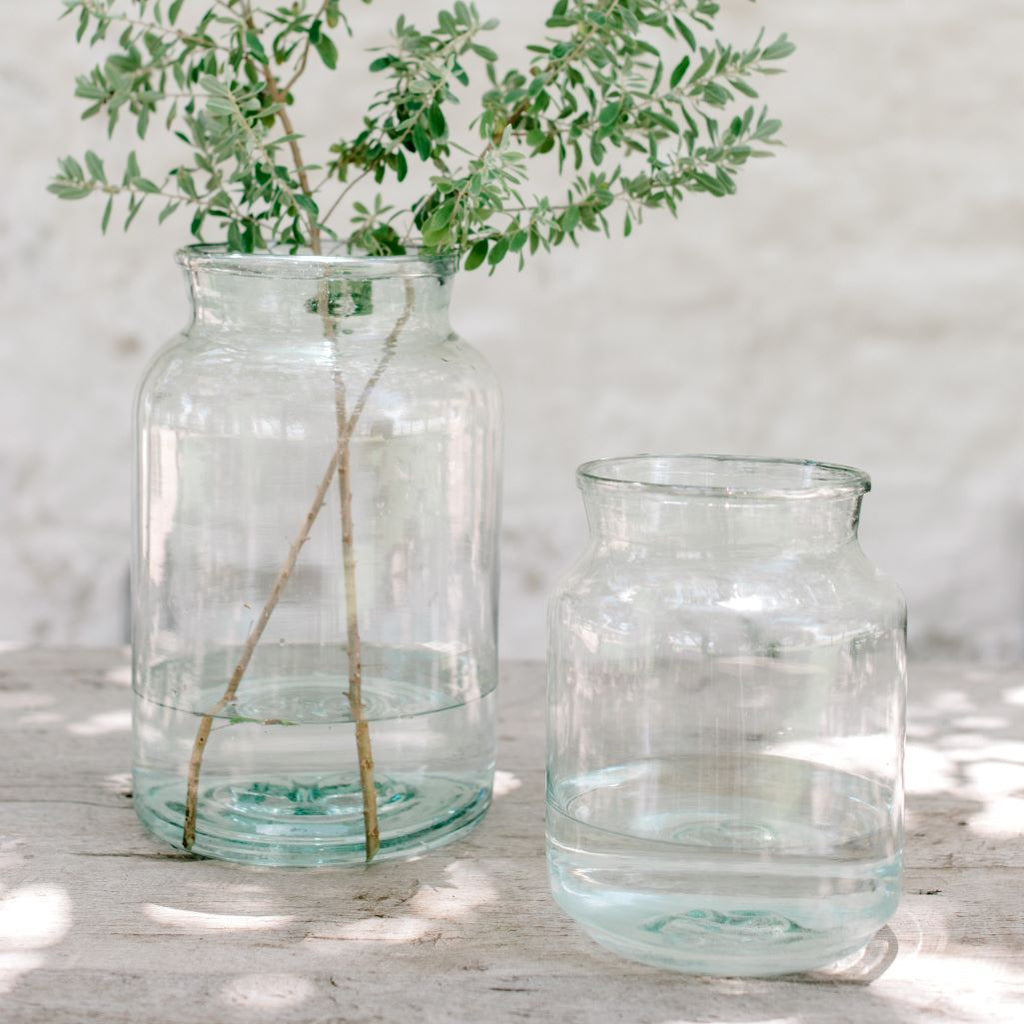 large recycled glass vases