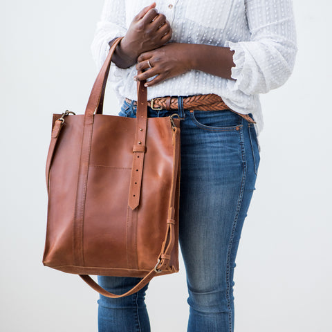 large brown leather adjustable tote with removable shoulder strap