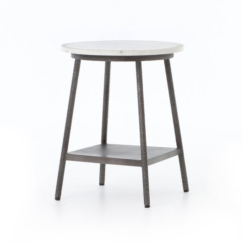 hammered metal end table with white round marble top