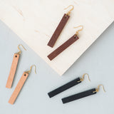 dangly rectangular leather earrings