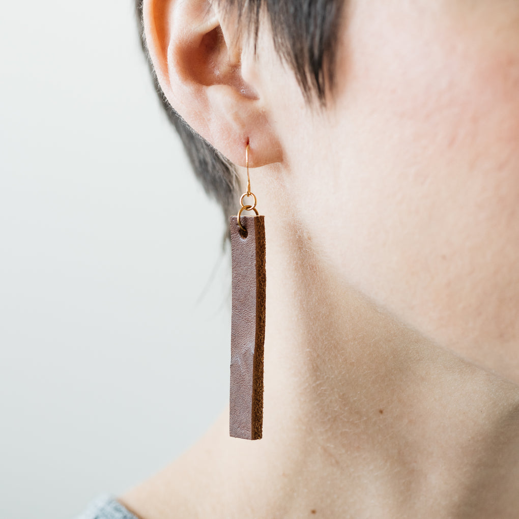 dangly rectangular brown leather earrings