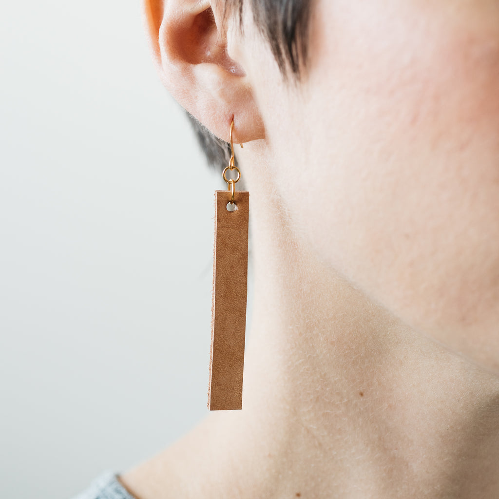 dangly rectangular light brown leather earrings