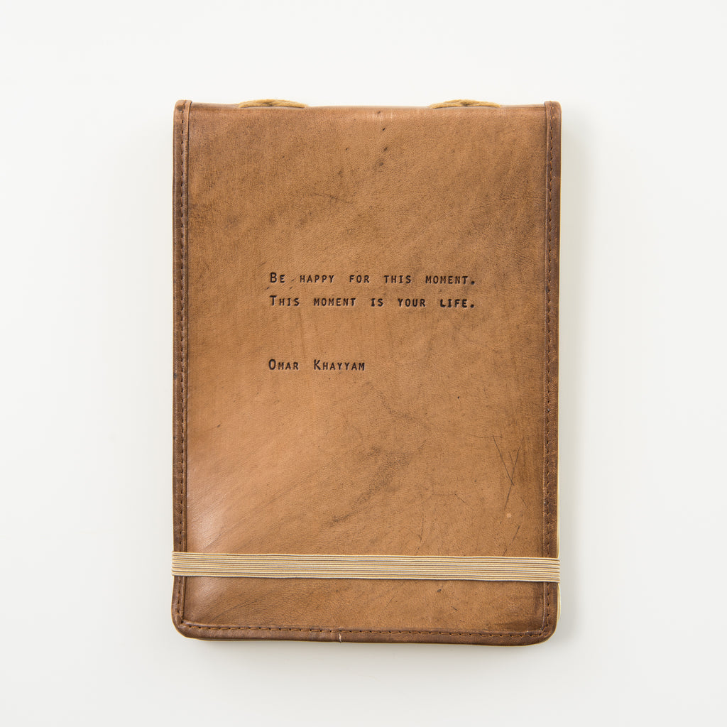 leather journal with omar khayyam quote