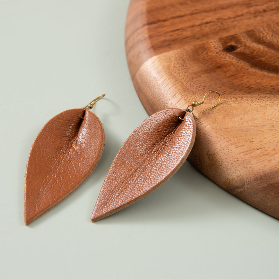 Genuine Italian Leather Leaf Earrings //// Creamy White Weave Leather //// Joanna Gaines Inspired //// A New Grace Leather Earrings