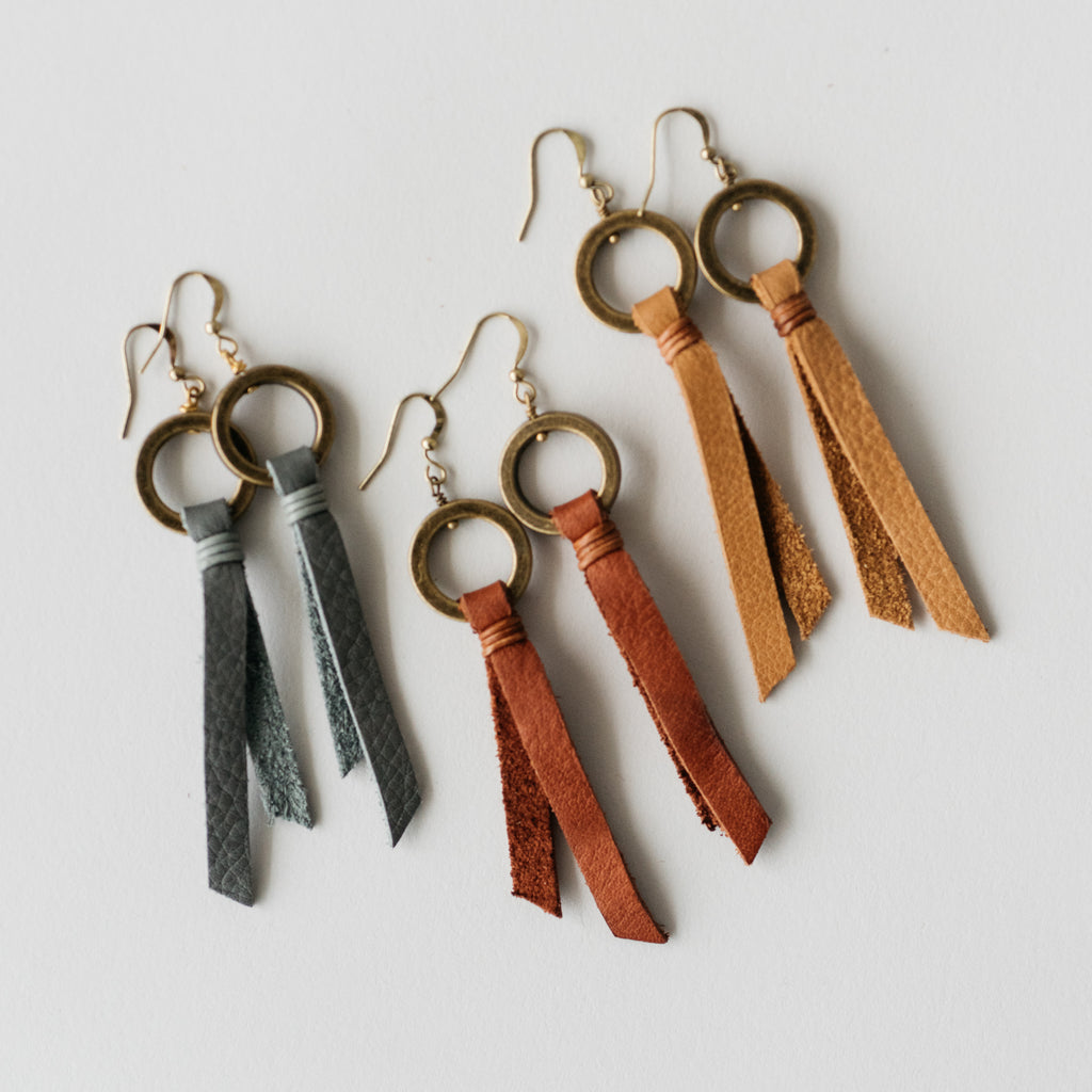 leather tassel earrings with brass hoop