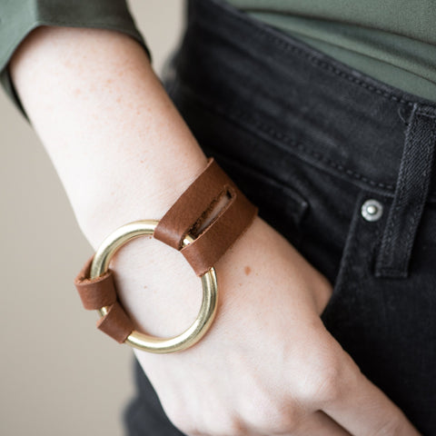 Leather Bracelet with brass ring