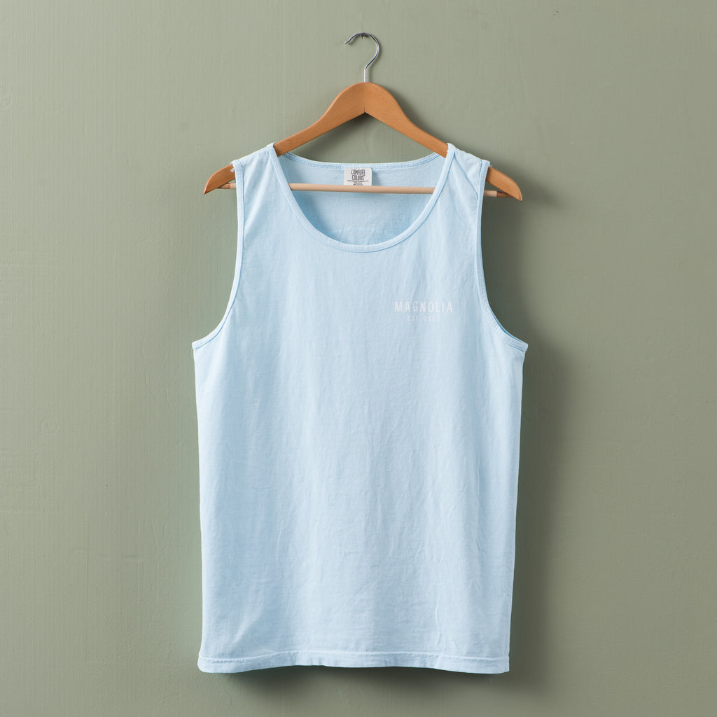 sky blue cotton tank top with magnolia circle crest logo in white