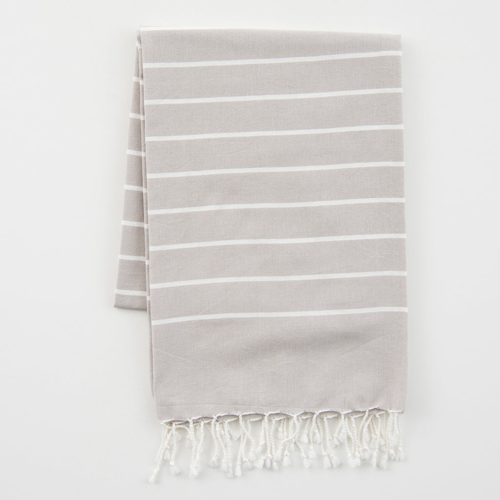 light grey striped organic cotton fouta towel