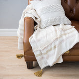 light yellow and cream striped throw with tassels
