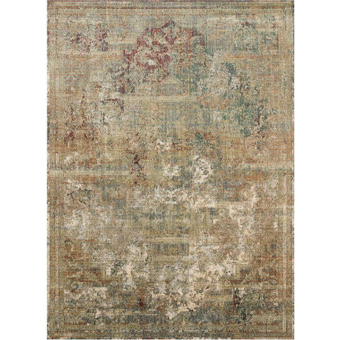 dark tan distressed area rug with ivory, red, and blue details