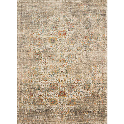 taupe and ivory distressed area rug with floral detail