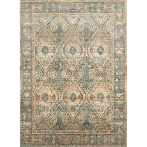 cream and light blue modern area rug with southwestern patterns