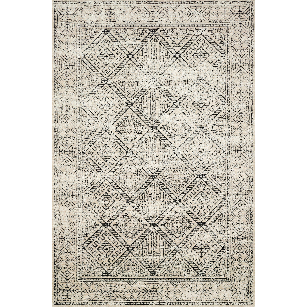 ivory rug with black diamond detail