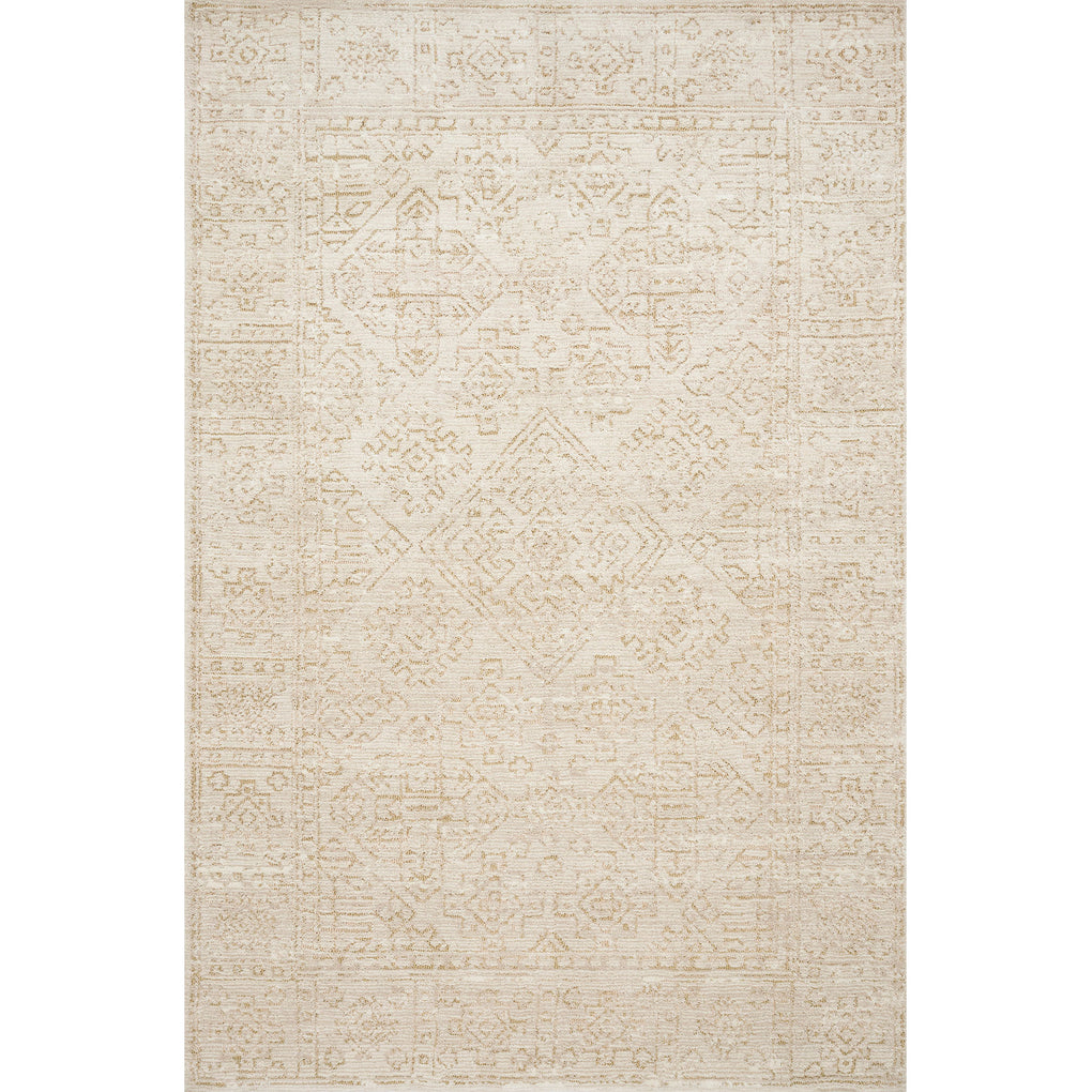 distressed cream rug with ivory detail