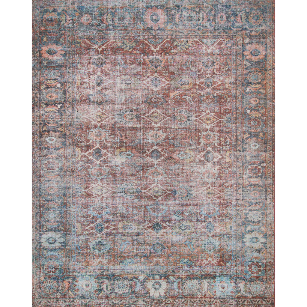 brick red and blue distressed rug