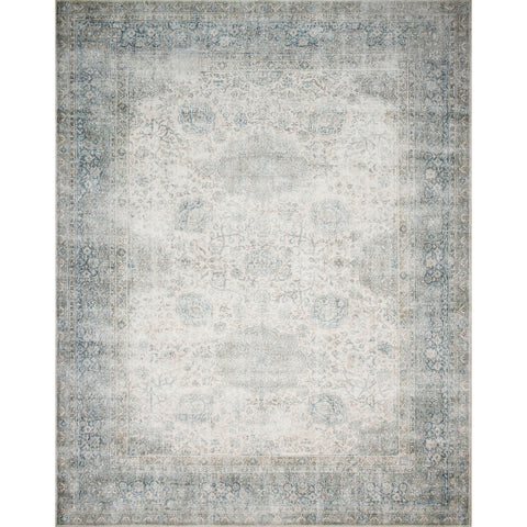 ivory and light blue distressed rug