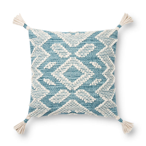 light blue and white modern square pillow with southwestern geometric patterns and white tassels
