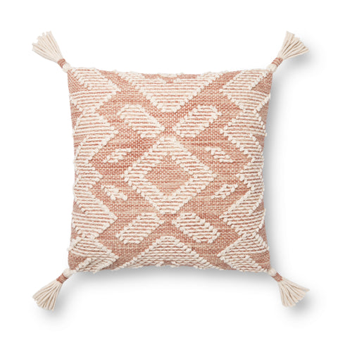 blush pink and white modern square pillow with southwestern geometric patterns and white tassels