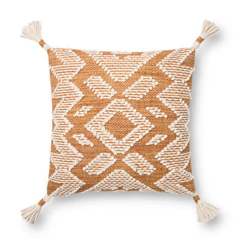gold and white modern square pillow with southwestern geometric patterns and white tassels