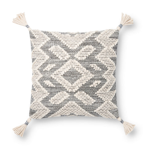 grey and white modern square pillow with southwestern geometric patterns and white tassels