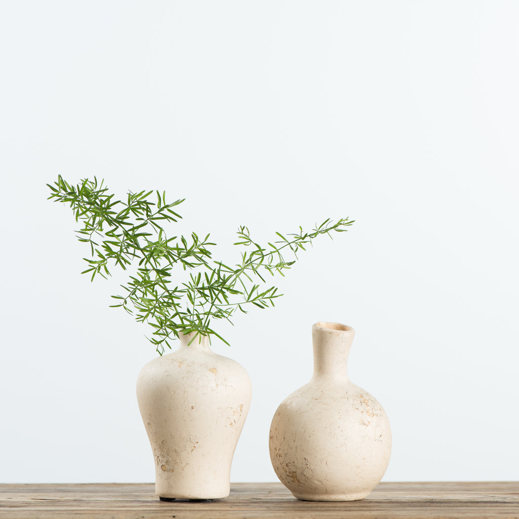 cream ceramic bud vases