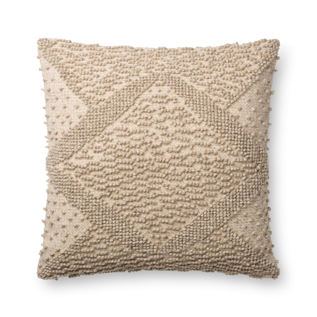 square beige textured pillow with geometric patterns