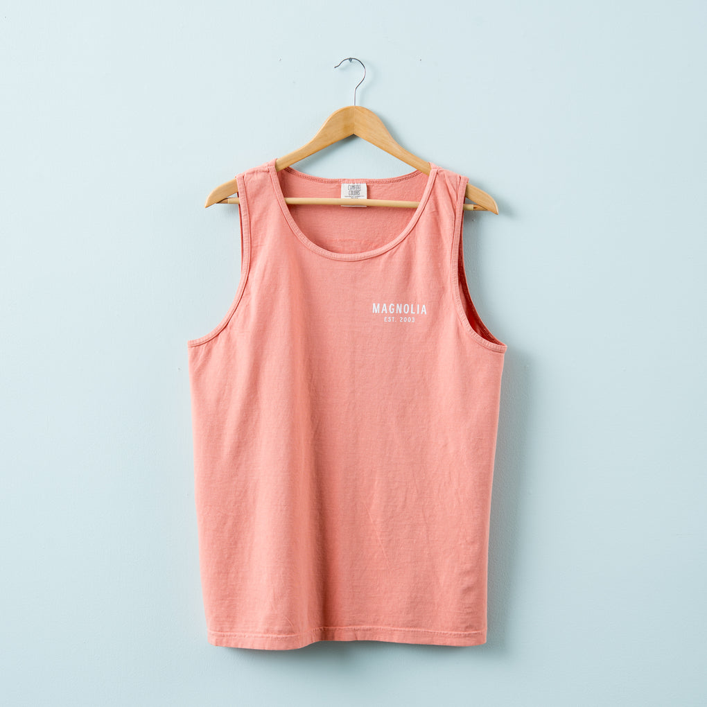 terracotta colored tank top with Magnolia circle crest logo