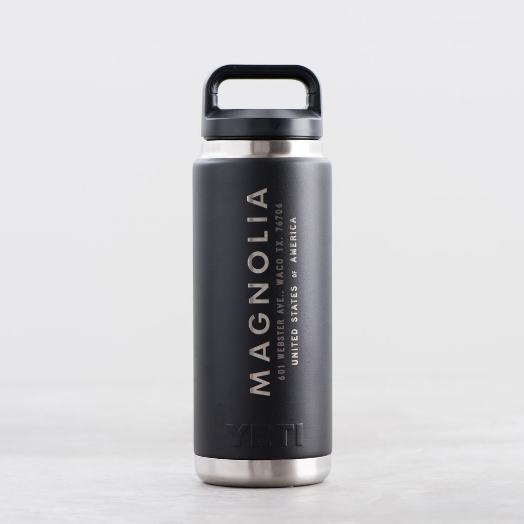 black yeti 26oz insulated bottle with Magnolia Industrial logo