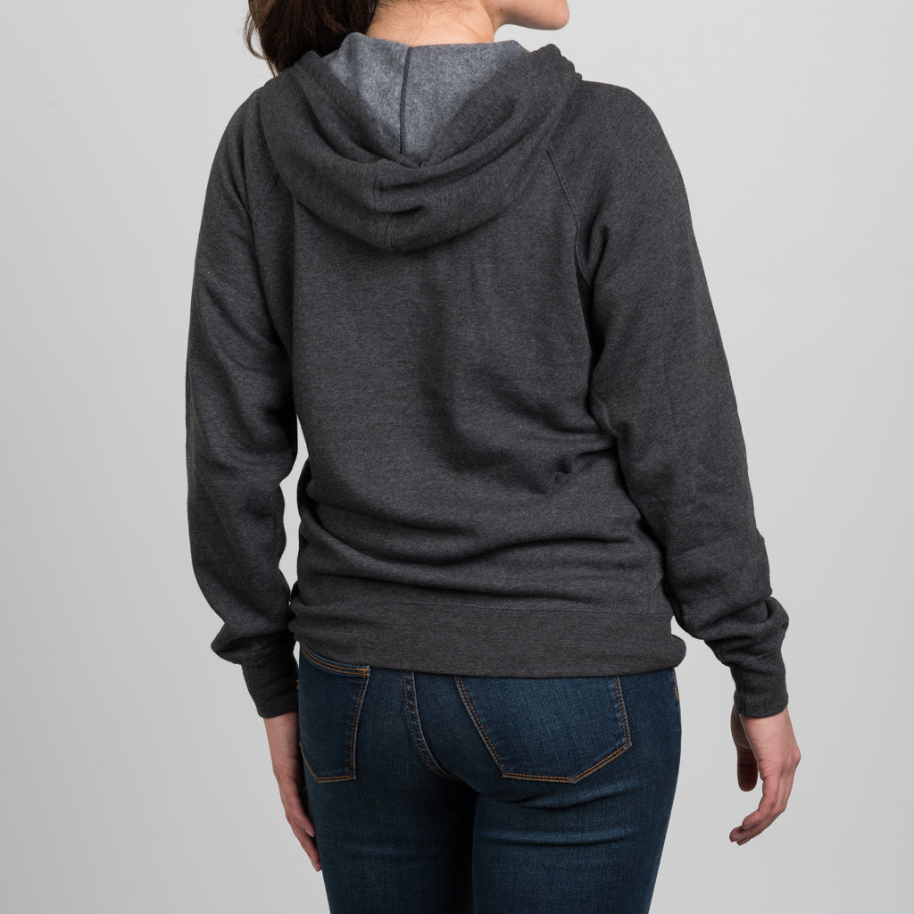 dark grey magnolia zip up hoodie with script logo