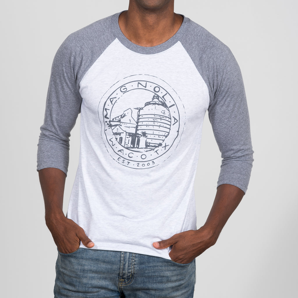 white and grey Magnolia Silos seal Baseball Shirt