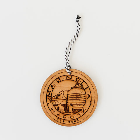 wooden laser-engraved christmas ornament of the magnolia silos seal