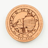 laser engraved wooden magnet with magnolia silos seal logo
