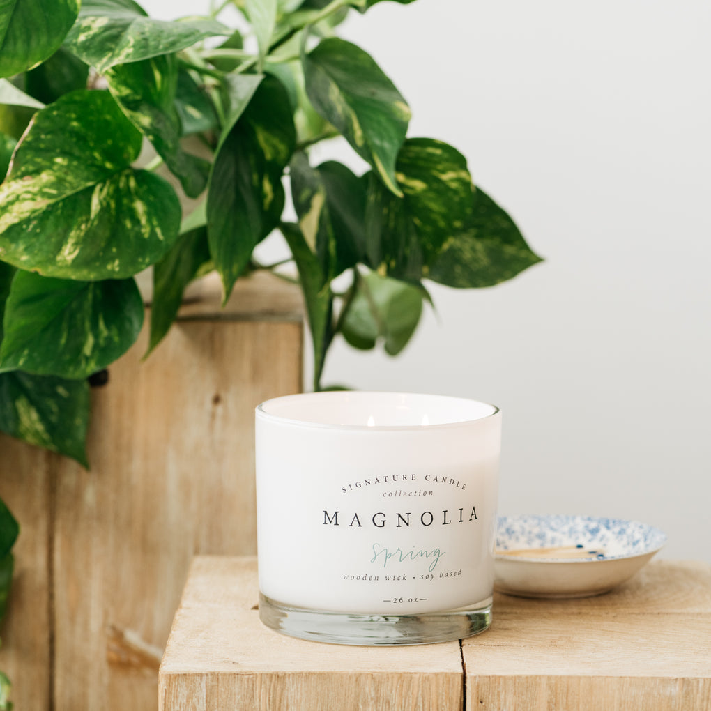 spring scented wood wick candle