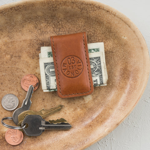 leather magnetic money clip with circle magnolia logo